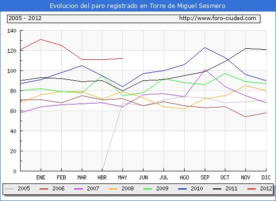 Evolucion  de los datos de parados para el Municipio de TORRE DE MIGUEL SESMERO hasta MAYO del 2012.